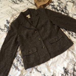 L.L. Bean Petite Brown Lined Blazer Wool Blend